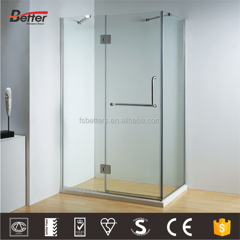 Simple flat frameless 3 sides tempered glass shower room