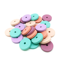 mixed colour flat 4*20mm round spacer wood beads