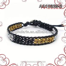 wholesale monogram initial beaded genuine leather wrap bracelet made in China