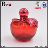 20ml 90ml red green yellow apple shaped perfume glass bottle with custom colored leaf