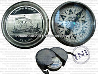 Brass Compass In Leather Case, Magnetic Compasses, Nautical Compass