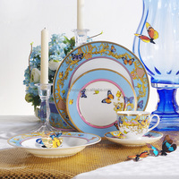 20 Pieces Luxury Fine Bone China Gold Rim Dinnerware Set of Song of Joy