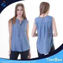 Anti-Wrinkle summer plain dyed lyocell denim sleeveless blouse for women