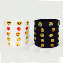 Black White CMYK printed Cute Emoji Silicone Bracelet For Children