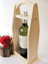 Natural Color Unfinished Wood Single Bottle Red Wine Carrier