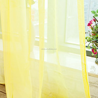 Hot Fully Stitched Curtain Solid Sheer Voile Window Panel Drapes yellow curtains