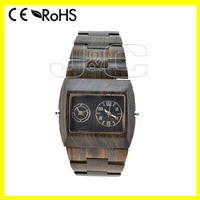 2015 New arrival bewell wooden watch with digital function in China