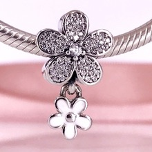 Dazzling Daisy Duo Charm White Enamel 925 Sterling Silver Beads Fit Charms Bracelet DIY Fashion Jewelry