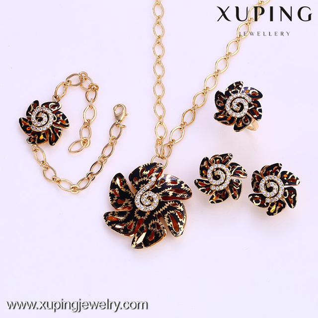 62024 xuping tribal jewellery, flower brazilian gold jewelry set