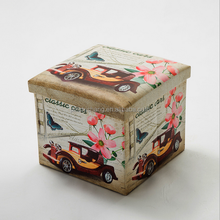 Square Storage Ottoman Printed Pvc Cube Folding Storage Stool