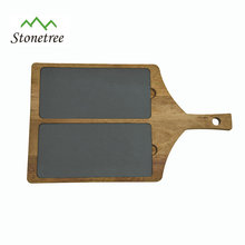 Slate Cheese board with wooden handle