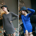 New Women Long Sleeve Round Neck Side And Shoulder Zipper Mini Knitting Dress Bottoming Shirt 9548