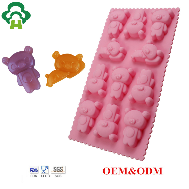 Customized bear shape silicone cake tool pudding chocolate diy chocolate mould christmas silicone molds for fondant baking items