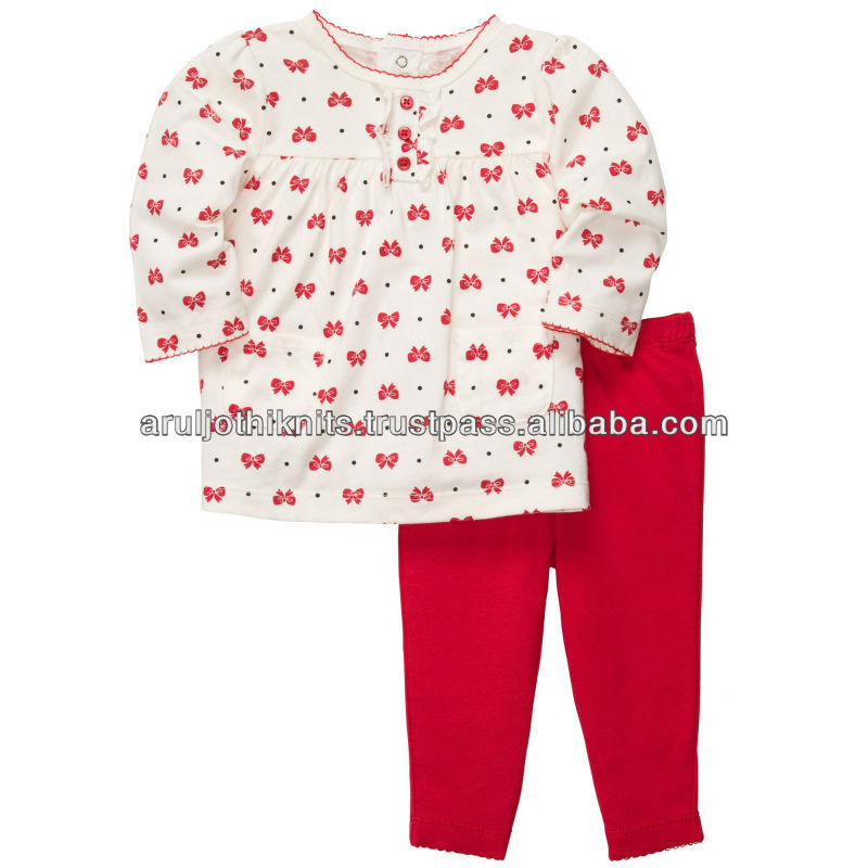 Girls tunic top and red pant clothing set