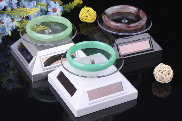 Solar Powered Rotating watch Showcase Display Stand for Jewelry/Cell Phone/Glasses Golden Display Shelf
