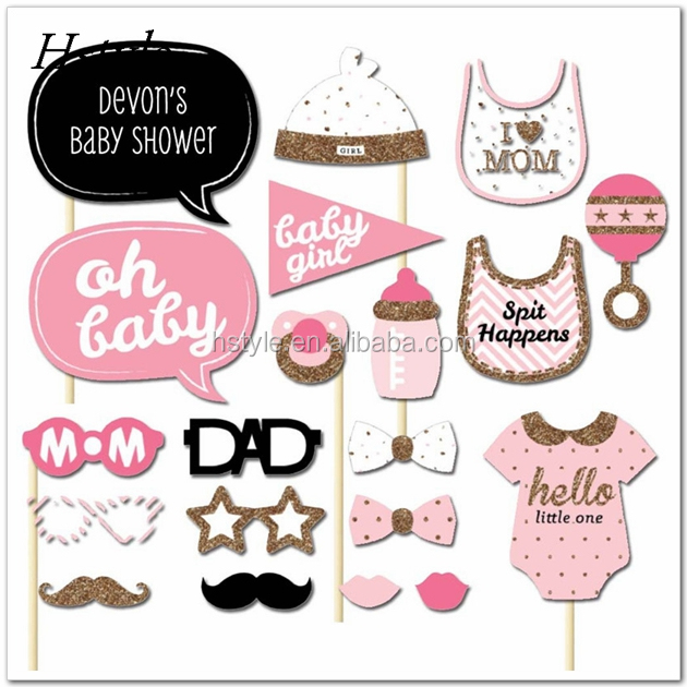 Set of 20 Baby Shower Girl Photo Booth Props on A Stick DIY Kits Fun Favor Gifts Baby Shower Party Decoration Accessorie PFB0079