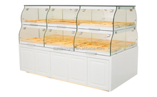 Andeli european style white floor stand Bread Display Case with 2 wooden <strong>shelves</strong> to display in baery