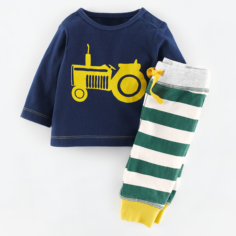 YE7198 autumn 2016 long sleeve shirt + striped pants kids boys suits