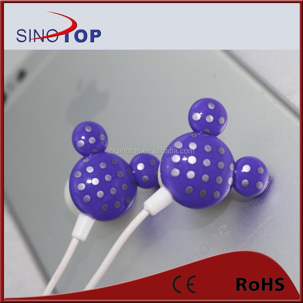 2015 lovely Cartoon plastic earphnoes for girls/Competitive earphones with best price