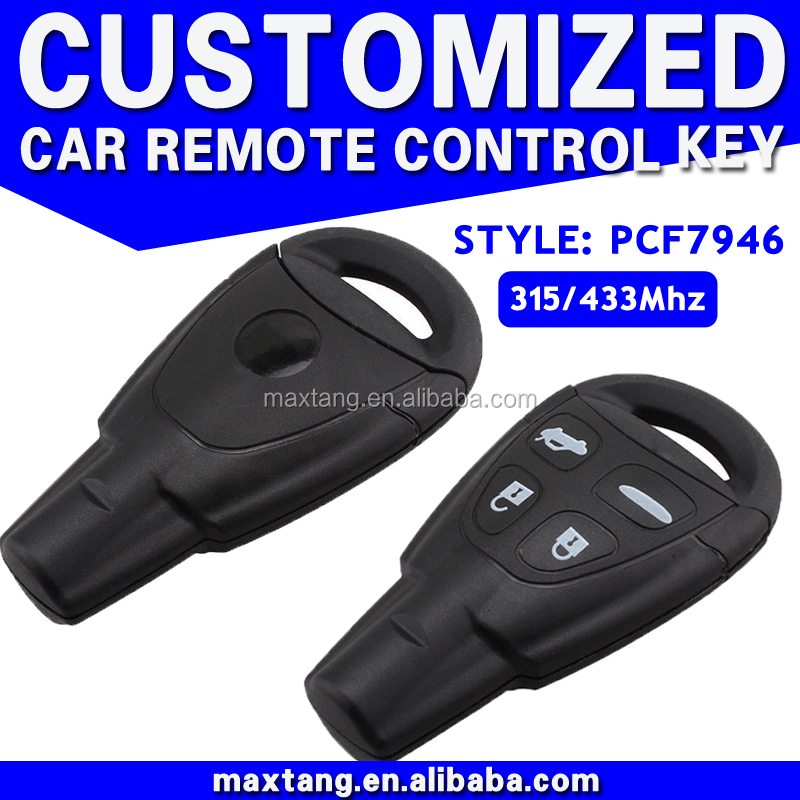 Car Remote Key 4 Buttons 315Mhz 433Mhz PCF7946 Chip For Saab Key Car Remote With Logo MTF-103000