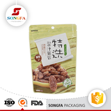 Heat sealing snack food packing self standing custom mini ziplock bag