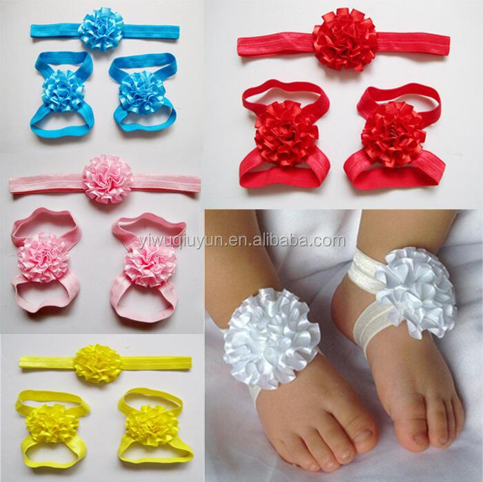 Girls Cute Foot Flower Barefoot Sandals+Headband Baby Set Elastic Hairbands Infant Kids Headbands 9 colors