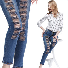In the spring of new dress and the wind ripped jeans female slim slim jeans pencil pants