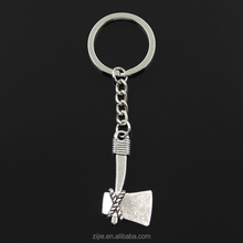 New fashion DIY men keychain 41*21mm axe ax Pendants Car Key Chain 30mm Ring Holder For Gift