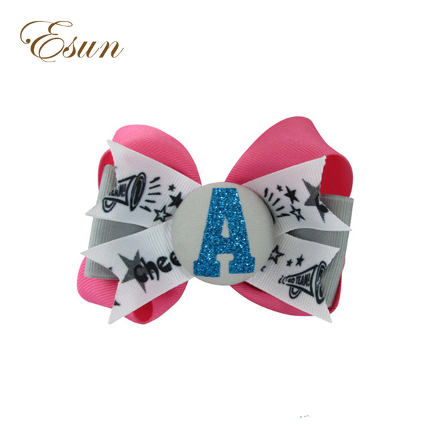 6 Inch School Uniform Match Personalized Initial Cheerleading Bling Clip Hair Bow
