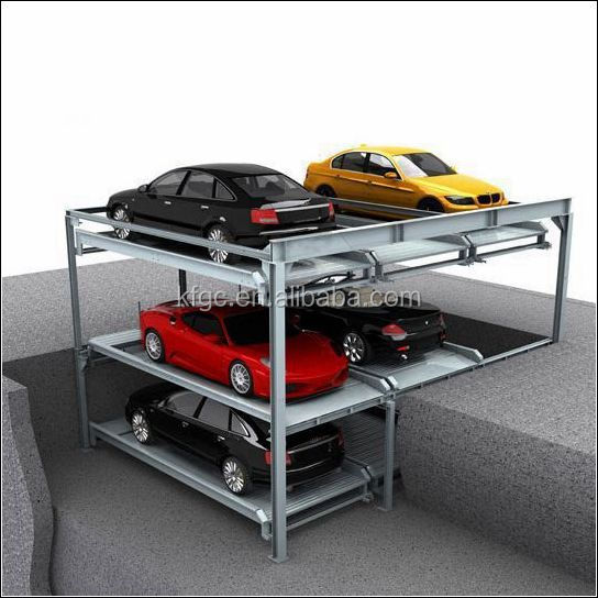 Pit mechanical garage automated smart lifting and sliding puzzle parking system