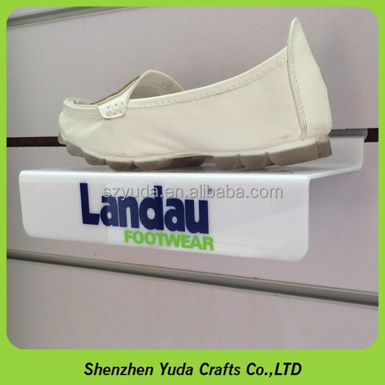 customized slat wall printed clear acrylic shoe stand wall mount shoe display