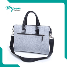 Portable Handle Carrying Quality Wool Felt Laptop Bag with Strap