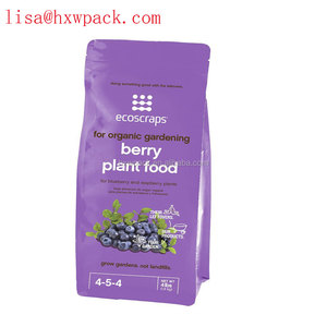 4lb Plastic packaging Fertilizer manure bag flat bottom foil lined stand up bag with zipper quad seal packing bag