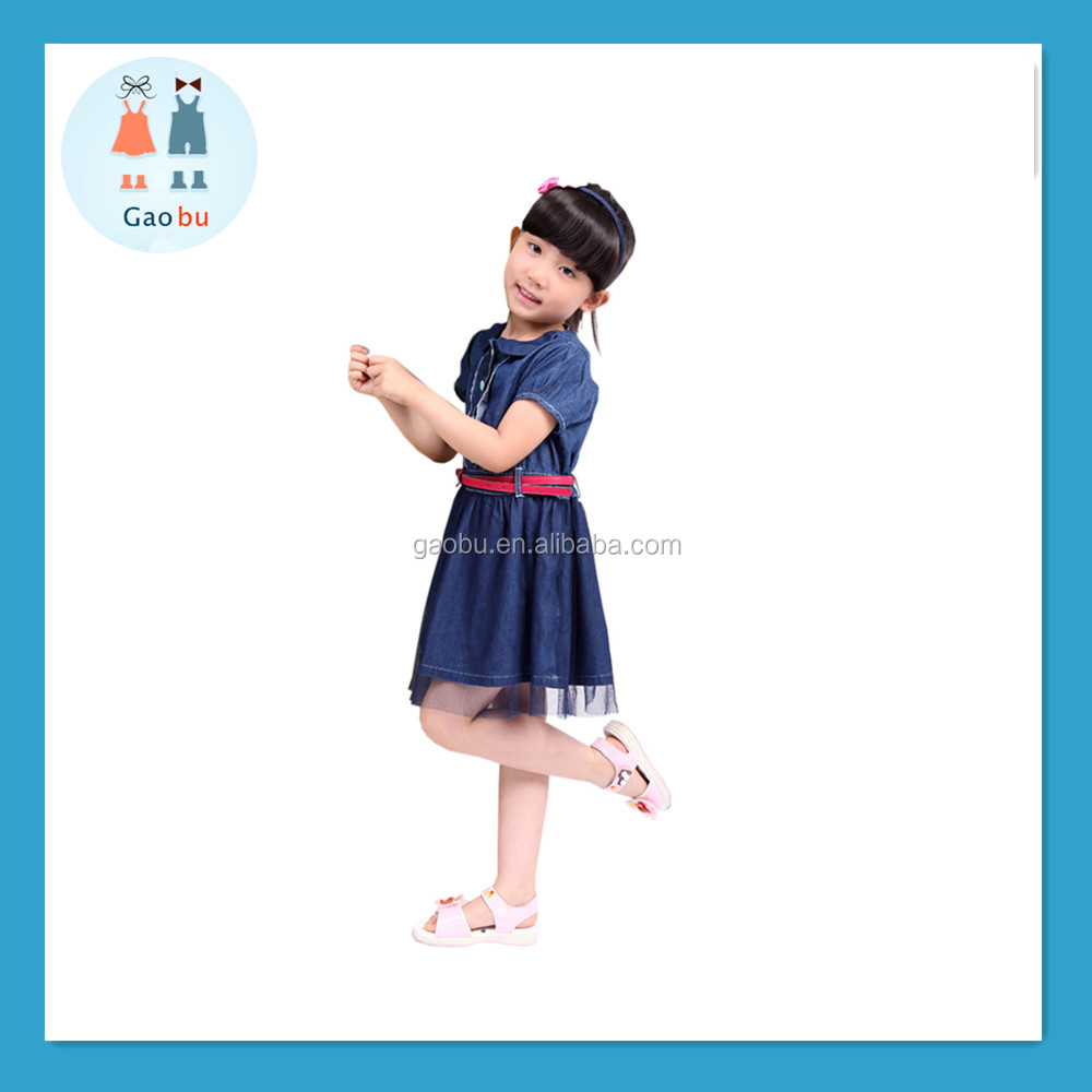 China supply 100% cotton material little girls party dresses