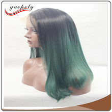 Hot sale Heat Resistant natural wave Front Lace Middle Part Ombre Black green Cosplay Synthetic Hair Wig For Black Women