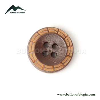 100% Natural Wooden Buttons Laser Patterned 4-Hole Round Buttons