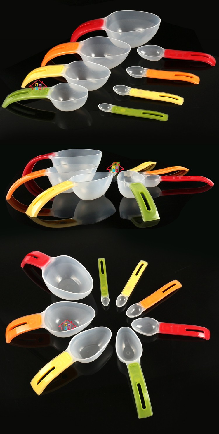 NBRSC Wholesale 8-Piece Individual Stackable Colorful Clear Plastic Magnetic Measuring Cup And Spoon Set for Baking