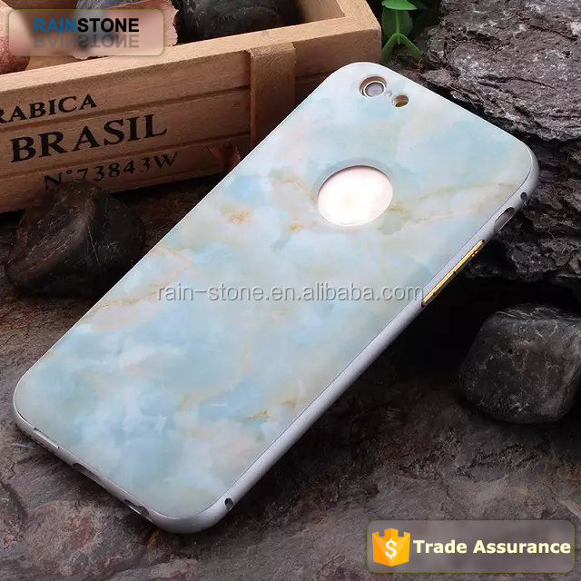 Hot sale metal bumper frame + marble back cover for iphone 5S case