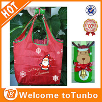 New red santa promotion Xmas shopping bag foldable polyester bag