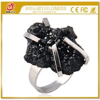 Natural Real Drusy Black Agate Crystal Agate Rings Gemstone Ring with adjustable metal women finger jewelry