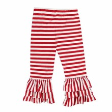 2017 wholesale children clothes red and white stripe girl ruffle bottom pants