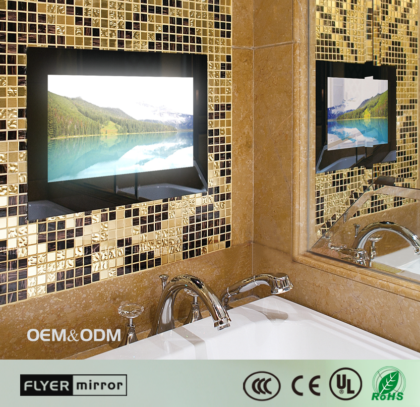 IP67 Waterproof bathroom lcd mirror with tv