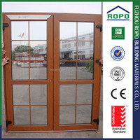 UPVC woodgrain color grill design europe style pvc windows and doors