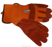 High Quality Orange Cotton Back Rust Red Cow Split Leather Safety Glove