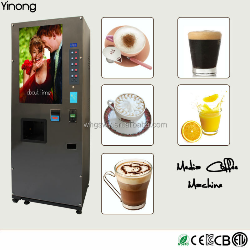 Manufacturer Instant Coffee Powder Vending Machine With Big LCD Advertising Screen