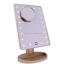 Professional Square Rotary Touch Sensory Gold Plastic LED Makeup Mirror