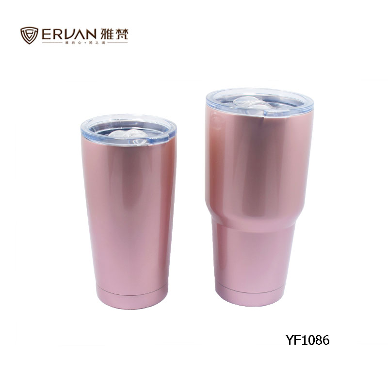 20oz double wall 18/8 stainless steel cold tumbler rose color vacuum cup insulated beer mug with slide lid
