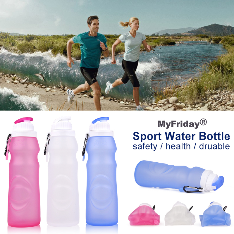 2016 New BPA Free Squeeze Hiking Foldable Leak Proof Sport Water Bottle with Hang Tag