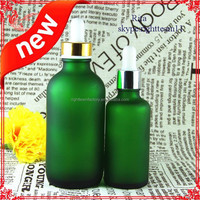 High qualtiy cosmetic glass bottles with dropper for skin care packaging,matt round glass bottle with gold/sliver cap
