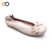 Women wedding gift foldable ballerina roll up flats head leather designer shoes women famous brands ladies flat shoes